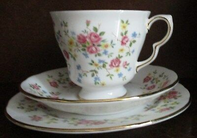 Queen Anne China Trio: Cup Saucer Tea Plate : Country Bouquet