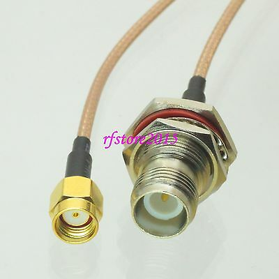 Cable RG316 6inch RP-SMA male jack to RP-TNC female bulkhead RF Pigtail Jumper