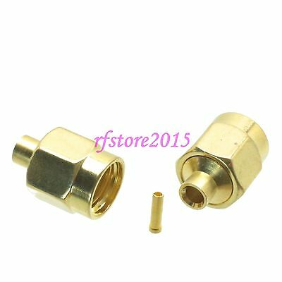 """1pce Connector RP-SMA male jack solder RG405 0.086"""" cable RF COAXIAL straight"""