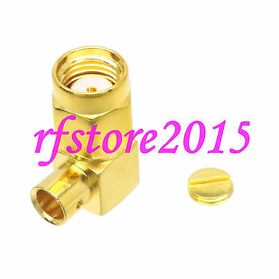 """1pce Connector RP-SMA male jack solder RG402 0.141"""" cable RF COAXIAL Right angle"""