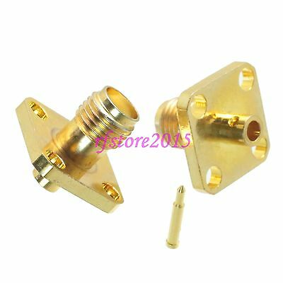 """1pce Connector RP-SMA female 4-holes Flange solder RG405 0.086"""" cable RF COAXIAL"""