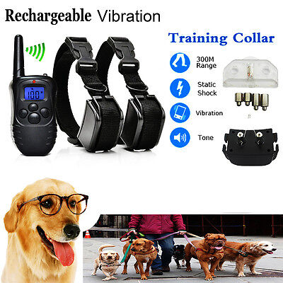 Electric Shock Anti-Bark Dog Rechargeable LCD Remote Control Training Collars *