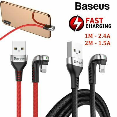 Baseus Braided U-Shaped USB Lightning Fast Charge Charging Data Cable 1M 2M Cord