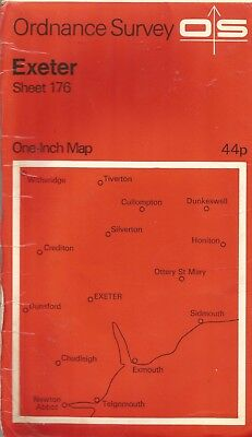 Exeter Vintage Map 176  Ordnance Survey  Paper One Inch 1967 B4