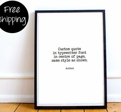 Custom wall art print, personalised print, typewriter quote, quote poster