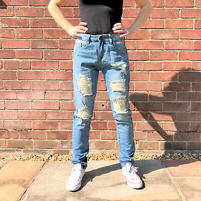 New Womens Light Blue Faded Ripped Distressed Frayed Torn Slim Jeans
