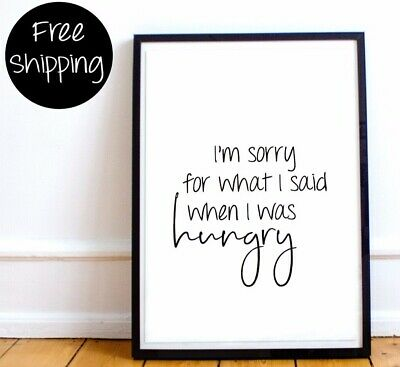 A4 Hungry Hangry Typography Print Picture Quote Gift Kitchen Home Decor UNFRAMED