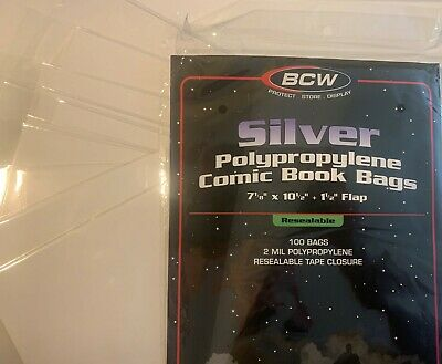 10 Pre Made Bcw Silver Age Resealable Comic Book Bag And Boards 2 Mil Acid Free