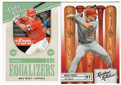 2019 Panini Leather & Lumber Equalizers + #70 Gold Parallel Mike Trout
