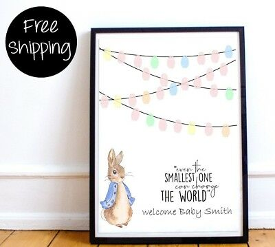Personalised Peter rabbit Baby shower guestbook Fingerprint Thumbprint print A4