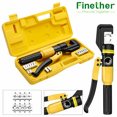 10 Ton Hydraulic Crimper Plier Crimping Force Tool Kits Wire Cable Lug Terminal