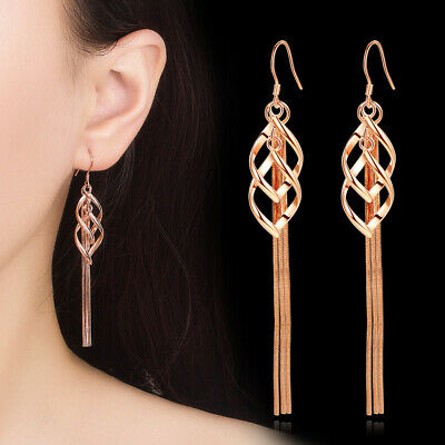 925 Sterling Silver Tassel Earrings Twisted Leaves Shape For Fashion Women Party