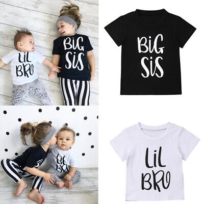 Little Brother Baby Boy Casual T-shirt Big Sister Girls Summer Tee Matching Tops