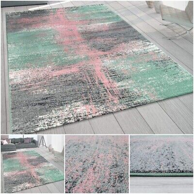 Stylish Abstract Pattern Carpet Colourful Pastel Tones Living Room Rug Thick Mat