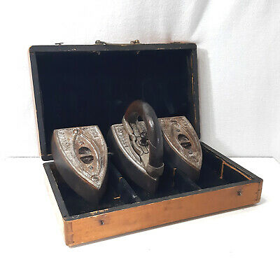 3 Pieces Antique Cast Iron Set Vintage Sad Irons in Old Wooden Box