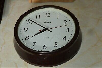 Vintage Smiths Sectric Bakelite Electric Wall Clock Office School Factory