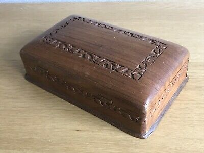 Hand Carved Wooden Box With Secret Opening Lined Inside