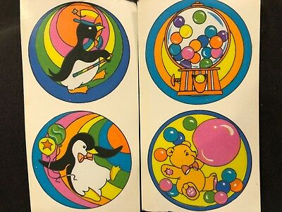 LOT OF 4 VINTAGE 80's HALLMARK RAINBOW ANIMALS STICKERS 1 1/2 x 5 1/2