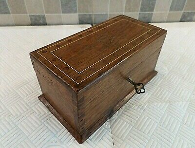 Antique Georgian Small Inlaid Oak Box With 3 Compartment Tray - Lock & Key