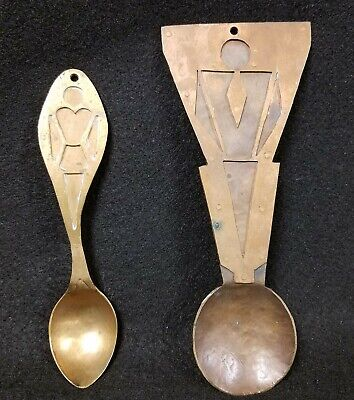 Unique Antique Arts & Crafts Hammered Copper Decorative Spoons of a Man & Woman