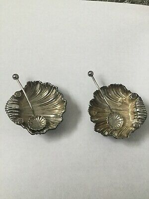 X2 Antique Hallmarked Old Solid Silver Shell Salt Pots And Spoons Collectable