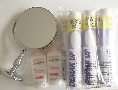 7 paquet demak up coton a demaquiller + Mirroir + lait demaquillant diadermine