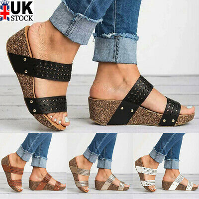 Womens Wedge Sandals Midi Heels Ladies Chunky Platform Summer Party Shoes Size