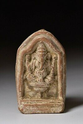 Ancient Middle Eastern Pottery Shrine with Hindu Deity Ganesha