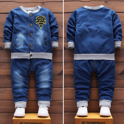 Baby Boy Denim Tops+Long Pants Outfits Toddler Infant Gentleman Jeans Casual
