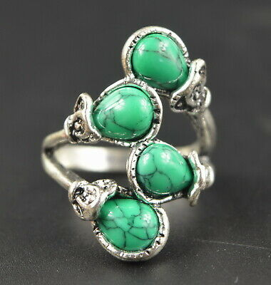 AAA Decorate Tibet Silver Carve Flower Inlay Turquoise Rare Ring China Artwork