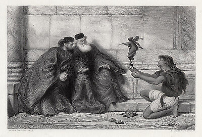 "Superb 1800s HENRY WALLIS Engraving ""Treasures Found at Naxos"" SIGNED Framed COA"
