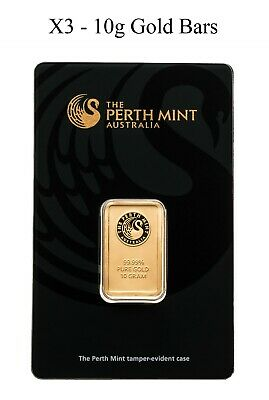 10 gram Gold Bar - Perth Mint (In Assay) - 3 Gold Bars in total - NEW & SEALED
