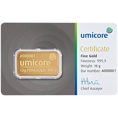 10 gram Umicore Gold Bar (In Assay) Pure Fine Gold Bar - BRAND NEW & SEALED