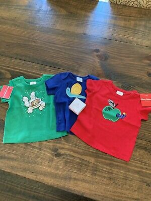 Lot Of 3 HANNA ANDERSSON Get Appy Applique Tee Shirts 70 9-12 months NWT