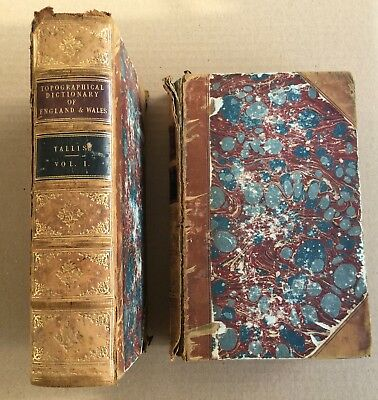 Antique 1800s Topographical Dictionary England Wales 2 VOL COMPLETE Archer Maps