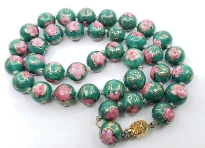 Vintage Hand Painted & knotted Chinese Green Porcelain large Beads Necklace
