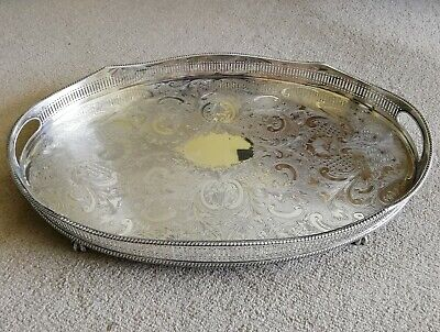 VINTAGE Large Silver Plated Chased Ball Claw Footed Oval Gallery Drinks Tea Tray