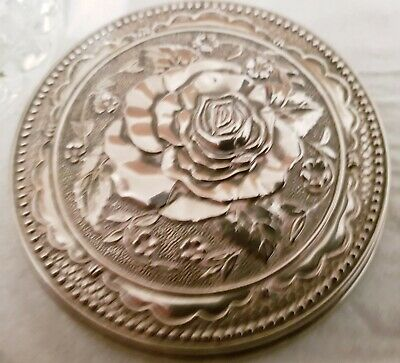 Stunning Vintage Engraved Rose Silver Metal Top, Sugar Mints Bowl, Cut Glass