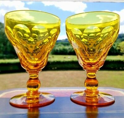 VICTORIAN Antique Amber Facet Cut Lead Crystal Wine Goblets Glasses Pair c1860