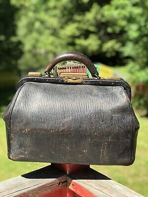 Antique Large Black Leather Dr Bag Medical Bag Apothecary Bag Made In The USA