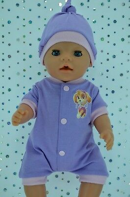 """Play n Wear Doll Clothes To Fit 17"""" Baby Born LILAC/PINK ROMPER~HAT"""