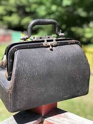 Antique Small Black Leather Dr Bag Medical Bag Apothecary Bag Made In The USA