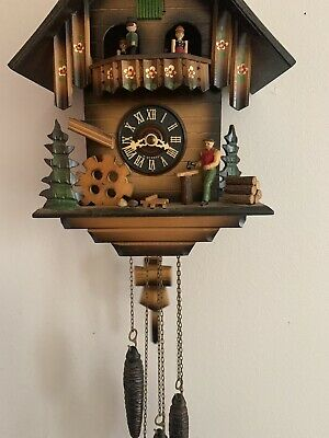 Vintage Germany BLACK FOREST Animated Musical Wood Chopper Cuckoo Clock