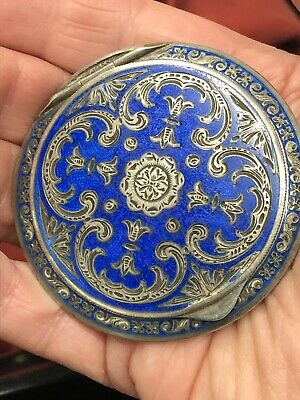 Antique Austrian Sterling Silver Blue Enameled Guilloche Compact