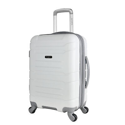 "21"" Carry on Suitcase Rolling Spinner Hard case expandable 2 compartments white"