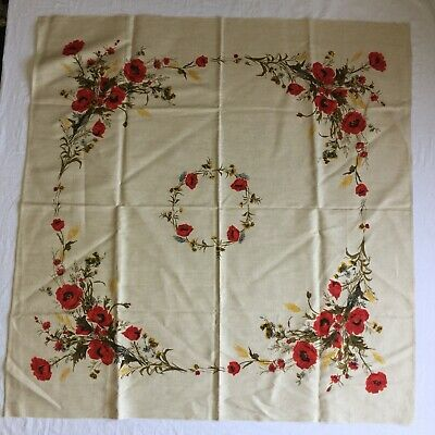 Vtg Unused Polish Linen Floral Small Tablecloth Red Poppy Poppies Wheat
