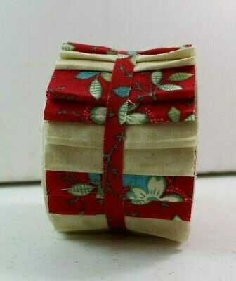 Jelly Roll 2.5 inch strips 20 per pk Cotton Quilting Fabric, Red Floral & Beige