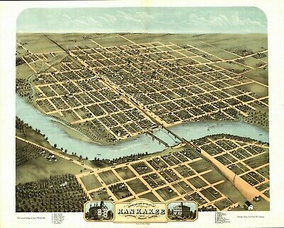 1869 KANKAKEE County panoramic old ILLINOIS map IL 31