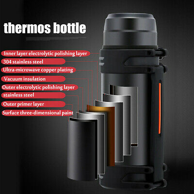 2L Thermal Water Bottle Mug Gift Sports Stainless Steel Large Capacity Insulated