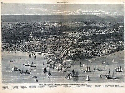 1871 CHICAGO before fire panoramic ILLINOIS map IL 15